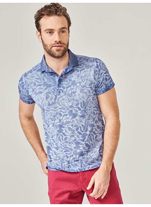 Xint Polo Yaka Desenli Tişört Mavi